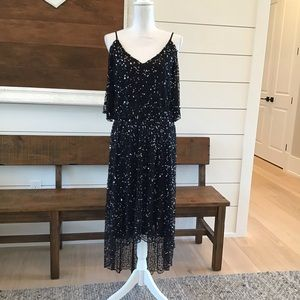 Pisarro Nights black beaded dress with sequins A8